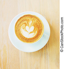 コーヒー, カプチーノ, 芸術, カップ, 効果, latte, フィルター, レトロ, ∥あるいは∥