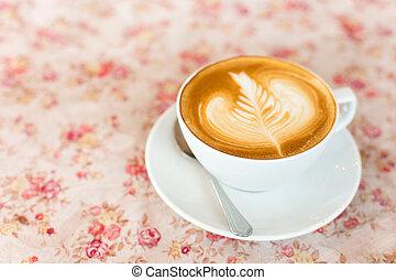 コーヒー, カプチーノ, 芸術, カップ, 型, 効果, latte, フィルター, バックグラウンド。, 花, レトロ, ∥あるいは∥
