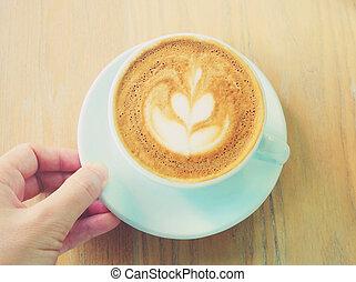 コーヒー, カプチーノ, 芸術, カップ, 手, ef, latte, フィルター, レトロ, ∥あるいは∥