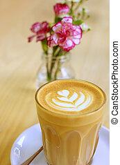 コーヒー, カプチーノ, 芸術, カップ, latte, 花, ∥あるいは∥