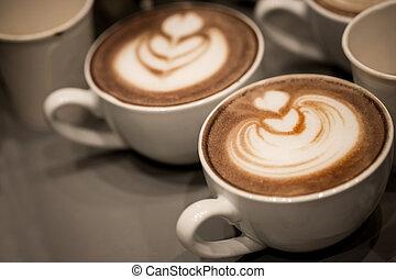 コーヒー, カプチーノ, 芸術, latte, カップ