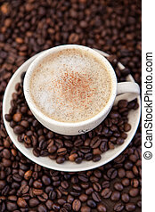 コーヒー, カプチーノ, 豆, のまわり, カップ
