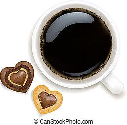 コーヒー, クッキー, カップ