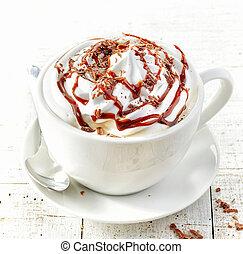 コーヒー, クリーム, むちで打たれた, カップ