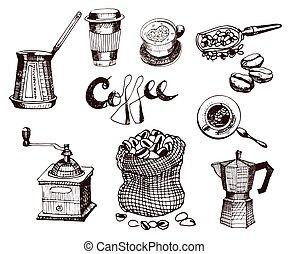 コーヒー, グラフィック, illustration., restauranr, shop., set., メニュー, 手, ベクトル, デザイン, 引かれる, 店, 要素