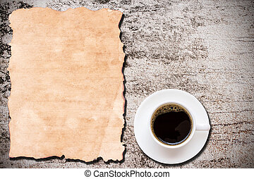 コーヒー, グランジ, カップ, ペーパー, 背景, 古い