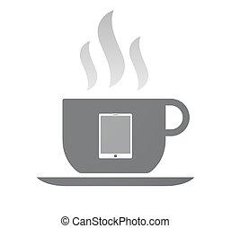 コーヒー, コンピュータ, 隔離された, タブレット, カップ
