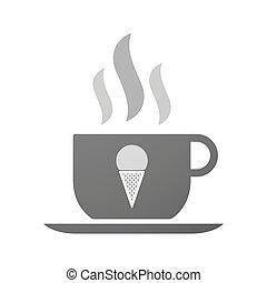 コーヒー, コーン, アイコン, カップ, クリーム, 氷