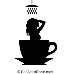 コーヒー, シルエット, カップ, イラスト, シャワー, 女の子