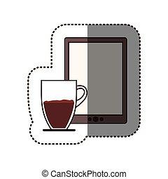 コーヒー, シルエット, タブレット, カップ, 色, ステッカー