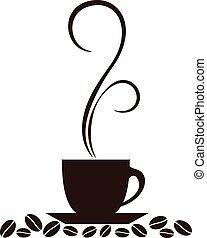 コーヒー, シルエット, 蒸気, カップ