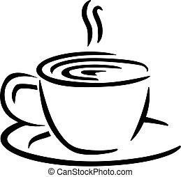 コーヒー, スタイル, caligraphy, カップ