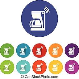 コーヒー セット, アイコン, 色, ベクトル, メーカー