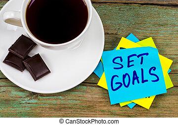 コーヒー セット, カップ, -, 付せん, 緑, ゴール, インスピレーションを与える, 手書き, チョコレート