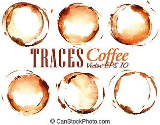 コーヒー セット, カップ, 注ぎなさい, 引かれる, 跡