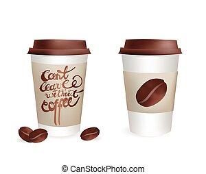 コーヒー セット, カップ, can't, 隔離された, イラスト, プラスチック, 休暇, ベクトル, 豆, なしで, inscription., アイコン