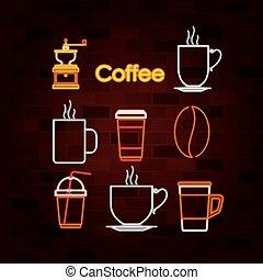 コーヒー セット, 壁, 飲みなさい, ネオン 印, れんが
