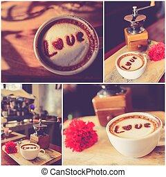 コーヒー セット, 愛, カップ, o, メッセージ