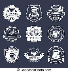 コーヒー セット, logos., 店, レストラン, collection., 現代, アイコン, 紋章, ベクトル, 情報通, 型, カフェ