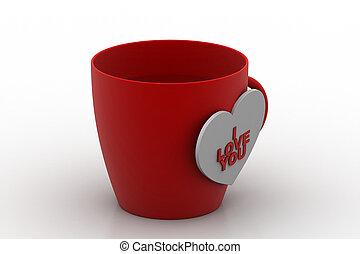 コーヒー, タグ, 愛, カップ
