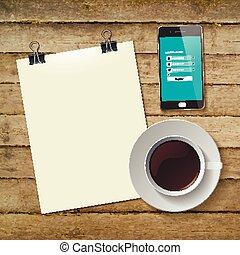 コーヒー, タブレット, カップ, 抽象的, イラスト, ベクトル