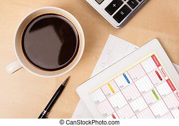 コーヒー, タブレット, カップ, 木製である, 提示, 仕事, クローズアップ, pc, 仕事場, テーブル, カレンダー