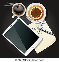コーヒー, タブレット, ノートペーパー, プディング, 黒