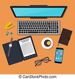 コーヒー, タブレット, 色, smartphone, 上, 仕事, ガラス, ラップトップ, 現実的, 仕事場, pc, 日記, 読者, mug., 机, 技術, organization., 光景