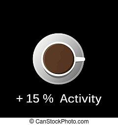 コーヒー, タンクトップ, 暑い, 黒い背景, 白