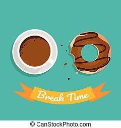 コーヒー, チョコレート, 壊れなさい, 緑の背景, 時間