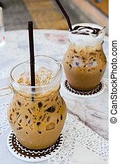 コーヒー, テーブル。, 大理石, 氷
