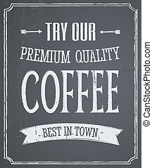 コーヒー, デザイン, 黒板