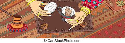 コーヒー, トルコ語, 手, 幸運, 旗, 言いなさい, グラウンド
