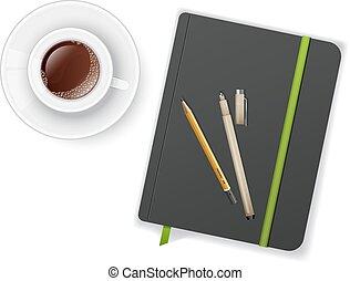 コーヒー, ノート, ペンのコップ