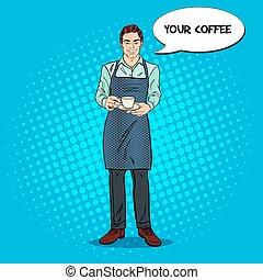 コーヒー, バーテンダー, カップ, ポンとはじけなさい, ベクトル, イラスト, cafe., 芸術, 微笑, レトロ