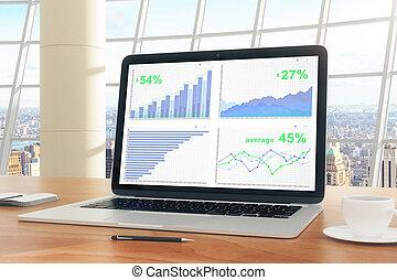 コーヒー, ビジネス, カップ, 木製である, スクリーン, チャート, ペン, 机, ラップトップ