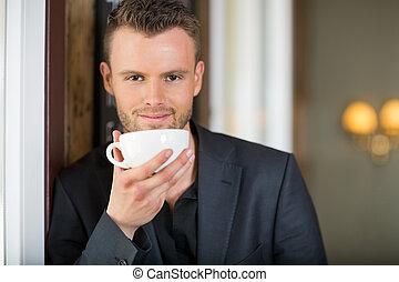 コーヒー, ビジネス, カップ, 若い, 保有物, カフェ, 人