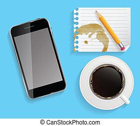 コーヒー, ビジネス, タブレット, カップ, 抽象的, イラスト, ベクトル