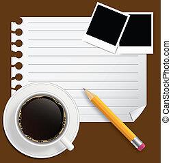 コーヒー, ビジネス, 写真フレーム, イラスト, 主題, ベクトル, 空白の本