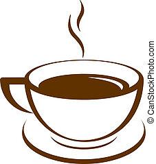 コーヒー, ベクトル, アイコン, カップ