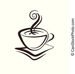 コーヒー, ベクトル, カップ