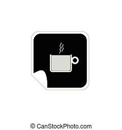 コーヒー, ベクトル, ステッカー, カップ