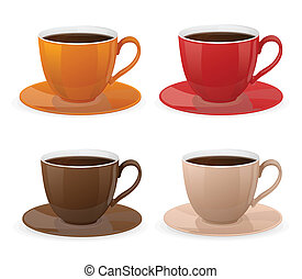 コーヒー, ベクトル, セット, カップ