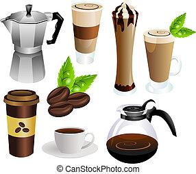コーヒー, ベクトル, セット