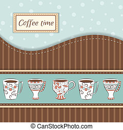 コーヒー, ベクトル, 大袈裟な表情をする, 背景