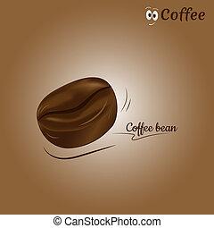 コーヒー, ベクトル, 豆, アイコン, design.