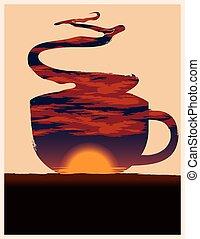 コーヒー, ベクトル, illustration., カップ