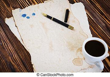 コーヒー, ペーパー, 古い, 背景, カップ