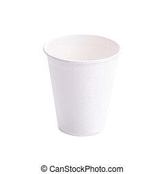 コーヒー, ペーパー, 白い背景, カップ