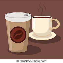 コーヒー, ポータブル, カップ, ペーパー, 熱い 飲料